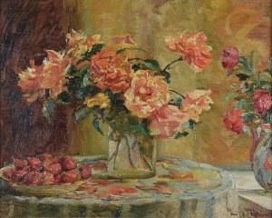 Maurycy TRĘBACZ (1861-1941), Martwa natura z kwiatami i truskawkami, ok. 1924