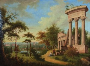 Malarz nieokreślony, zachodnioeuropejski, XIX w., Pejzaż z klasycystycznymi ruinami i sztafażem, ok. 1820