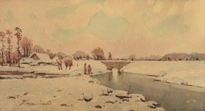 Stanisław GIBIŃSKI (1882-1971), Pejzaż zimowy z rzeką