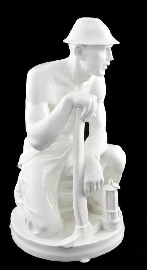 Paul BERGER (1889-1949) - model, Manufaktura Porcelany w Miśni, Przyklękający górnik, z kilofem i lampką