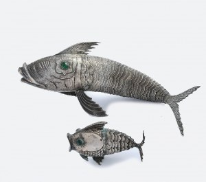 Dwie figurki ryb do dekoracji stołu