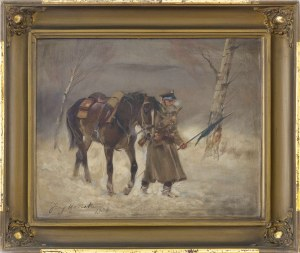 Jerzy Kossak (1886-1955), Żołnierz prowadzący konia, 1908