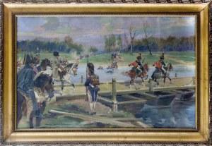 Jerzy Kossak (1886-1955), Wojska Napoleona przeprawiające się na drugi brzeg, 1924