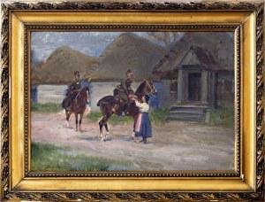 Jerzy Kossak (1886-1955), Dwóch żołnierzy i dziewczyna podająca dzban z wodą