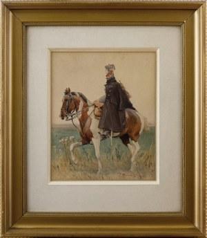 Zygmunt Rozwadowski (1870-1950), Polski oficer ułanów na koniu, 1917