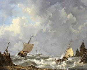 R. von Reicharch (poł. XIX w.), Łodzie żaglowe przy brzegu, 1858 r.