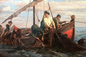 Kunz Meyer-Waldeck (1859 Mittawa-1953 Neuburg am Inn), Rybacy ciągnący sieci