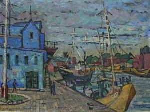 Roman Szczerzyński (1908 Bielsko Biała-1985 Dąbrowa Górnicza), Ustka - Port I, 1962 r.