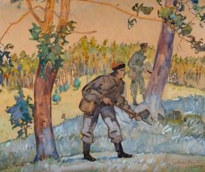 Adam Międzybłocki (1883 Gryszkańce koło Sejn - 1956 Gdańsk), Na polowaniu, 1954 r.