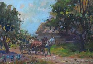 Juliusz Słabiak (1917 Sosnowiec - 1973 Kraków), Pejzaż z zaprzęgiem