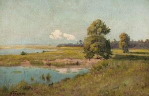 Wiktor Korecki (1890 Kamieniec Podolski - 1980 Milanówek k. Warszawy), Pejzaż z rozlewiskiem, ok. 1920 r.