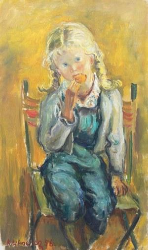 Katarzyna Librowicz (1912 Warszawa - 1991 Paryż), Portret dziewczynki z warkoczami, 1956 r.