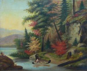 Cornelius Krieghoff (1815 Amsterdam-1872 Chicago), Pejzaż kanadyjski z kanoe