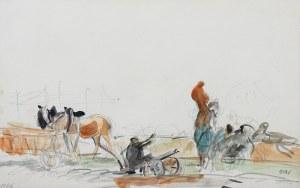 Wojciech Weiss (1875 Leorda na Bukowinie - 1950 Kraków), Scena rodzajowa - konie przy wozie, 1946 r.