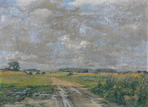 Albrecht Biedermann (1870 - 1949), Pejzaż z kłębiastymi chmurami
