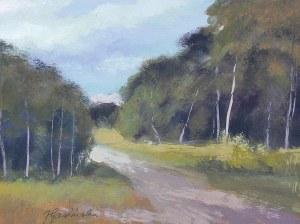 Jan Gasiński (1903 Wólka Grodziska - 1967 Gdynia), Pejzaż z drogą