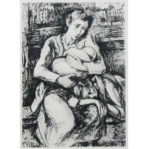 Maurycy Mędrzycki (1890 Łódź - 1951 Paul de Vance), Kobieta z dziećmi w warszawskim getcie, 1948 r.