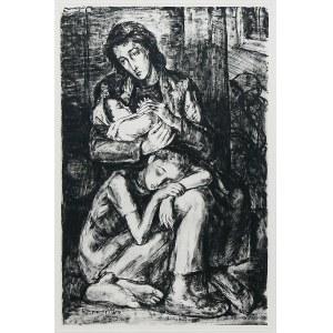 Maurycy Mędrzycki (1890 Łódź - 1951 Paul de Vance), Matka z dziećmi w getcie, 1950 r.