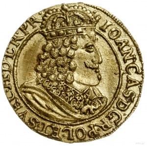 dukat 1655, Toruń; Aw: Popiersie króla z orderem Złoteg...