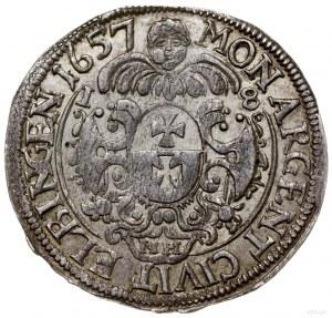 ort 1657, Elbląg; odmiana z napisem CAROVS... i literam...