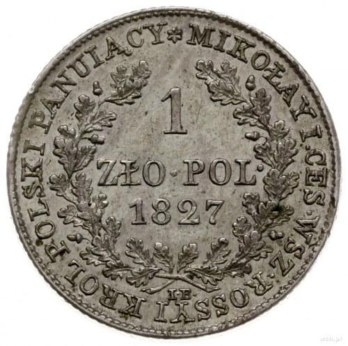 1 złoty 1827, Warszawa; Bitkin 996, H-Cz. 3613, Plage 7...