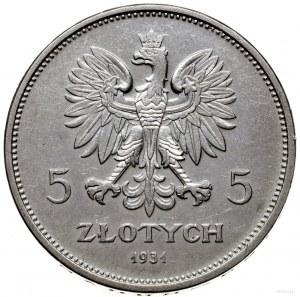 5 złotych 1931, Warszawa; Nike; Parchimowicz 114d; czys...