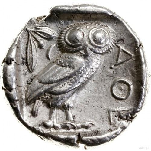 Tetradrachma, 479–393 pne; Aw: Głowa Ateny w prawo, w h...