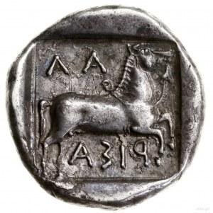 Drachma, IV w. pne; Aw: Młodzieniec ujarzmiający byka k...