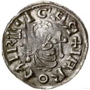Denar, 1003–1034, mennica Praga; Aw: Półpostać na wpros...