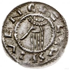 Denar, 1012–1034, mennica Praga; Aw: Półpostać na wpros...