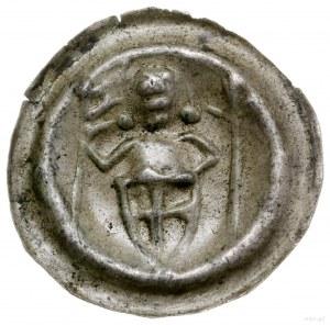Brakteat, ok. 1247–1258; Długowłosa postać rycerza, trz...