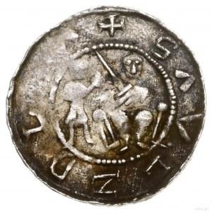 Denar; Aw: Książe na tronie z mieczem w dłoni, obok sto...