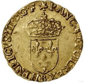 Écu d'or au soleil, 1578 B, mennica Rouen; Aw: Ukoronow...