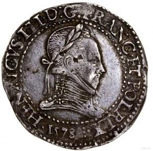 Frank, 1578 D, mennica Lyon; data w otoku, pod popiersi...