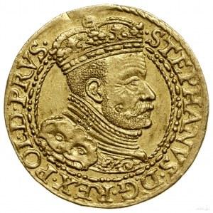 Dukat, 1586, mennica Gdańsk; Aw: Popiersie króla w zbro...