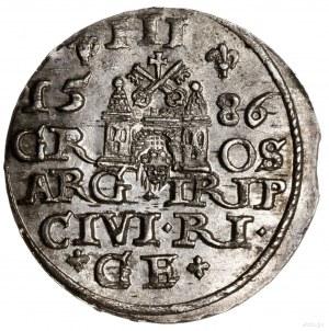 Trojak, 1586, mennica Ryga; na awersie mała głowa króla...