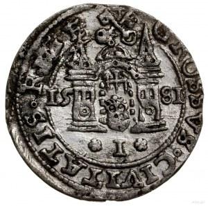 Grosz, 1581, mennica Ryga; STEPH w legendzie awersu, pe...