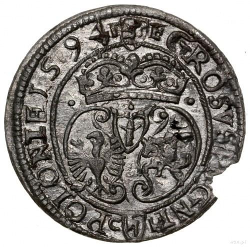 Grosz, 1594, mennica Olkusz; Aw: Popiersie króla i napi...