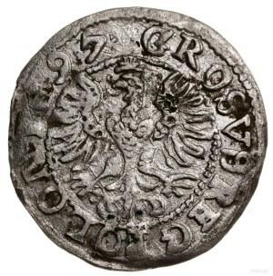 Grosz, 1597, mennica Lublin; Aw: Korona, poniżej napis ...