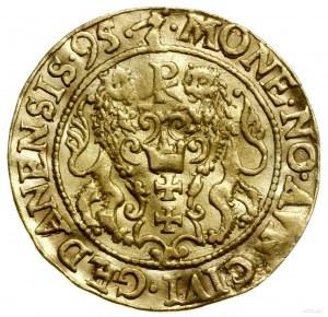 Dukat, 1595, mennica Gdańsk; Aw: Popiersie króla w praw...