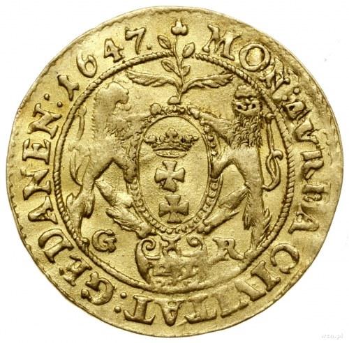 Dukat, 1647, mennica Gdańsk; Aw: Popiersie króla w praw...