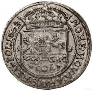 Tymf (złotówka), 1663, mennica Lwów; duża litera R w mo...