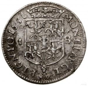 Ort, 1651, mennica Wschowa; popiersie króla w wieńcu la...