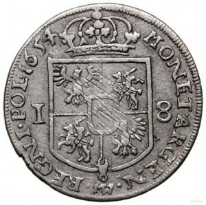 Ort, 1654, mennica Wschowa; pod ukoronowaną, pięciopolo...