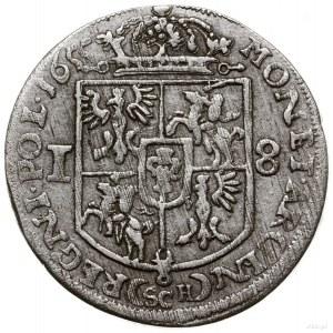 Ort, 1655, mennica Kraków; pod popiersiem władcy litery...