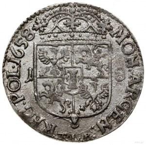 Ort, 1658, mennica Kraków; popiersie władcy dzieli napi...