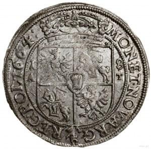 Ort, 1664 AT, mennica Kraków; herb Ślepowron w prawo na...