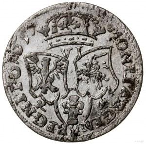 Szóstak, 1657 IT, mennica Kraków; legenda awersu IO CAS...