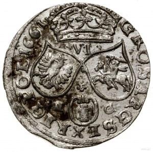 Szóstak, 1661 NG, mennica Poznań; na rewersie litery N ...