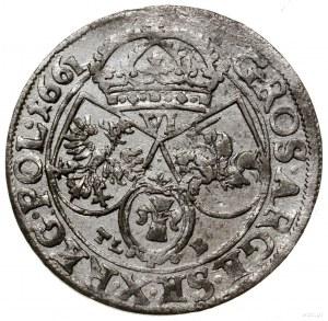 Szóstak, 1661 TLB, mennica Kraków; z herbem Ślepowron b...